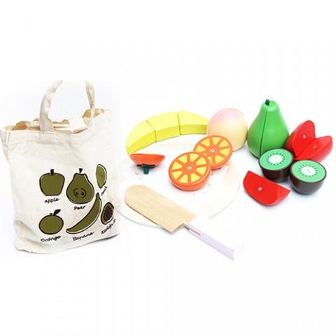Bộ đồ chơi cắt hoa quả bằng gỗ - túi vải