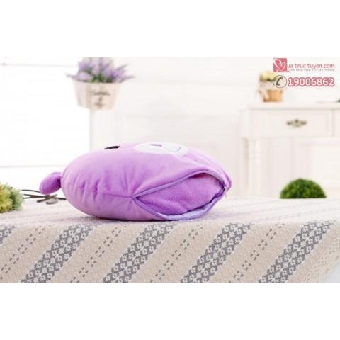 Bộ chăn gối 2 trong 1 gấu Lavender-M