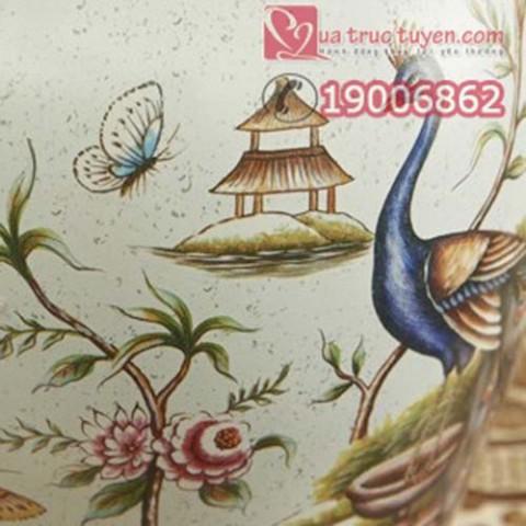 Bộ lục bình tranh đĩa chim công xanh ngọc