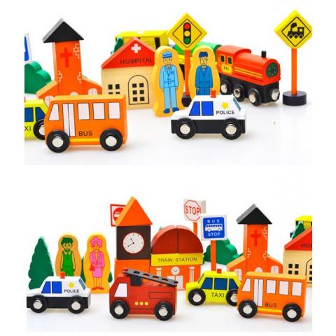 Bộ đồ chơi xếp hình bằng gỗ - Mô hình giao thông thành phố