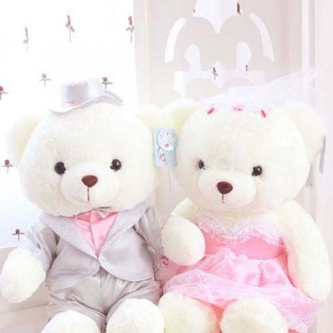 Gấu bông cô dâu chú rể trắng-60cm