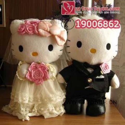 Gấu bông đôi Hello Kitty cô dâu chú rể
