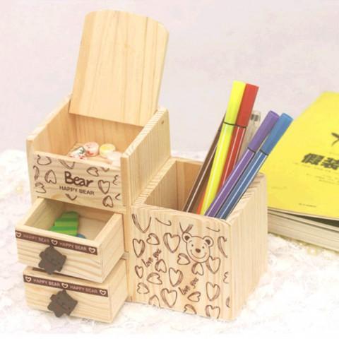 Hộp gỗ đựng đồ cá nhân Happy Bear