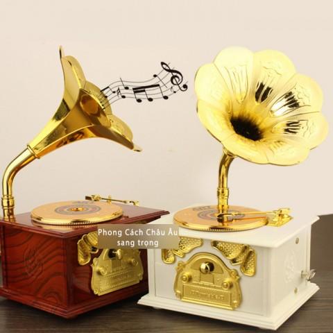Hộp nhạc máy hát cổ điển - nâu