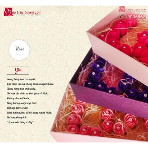 Hoa gấu tình nhân xếp chữ i love u gift set