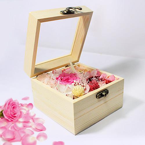 hoa hồng bất tử hộp gỗ vuông hồng phấn