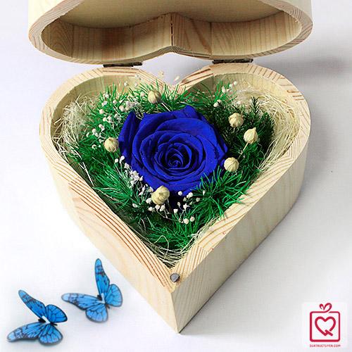 hoa hồng bất tử hộp gỗ trái tim hồng xanh